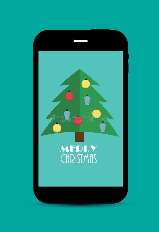 Abstrakcjonistyczni boże narodzenia i nowego roku telefon komórkowy ilustracja wektor