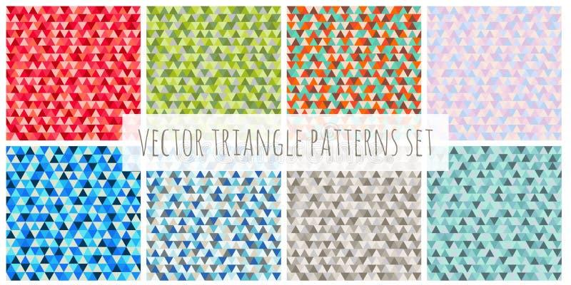Abstrakcjonistyczni Bożenarodzeniowi trójboków wzory ustawiający Rewolucjonistka, błękit, zieleń, brąz, purpurowej wektorowej zim royalty ilustracja