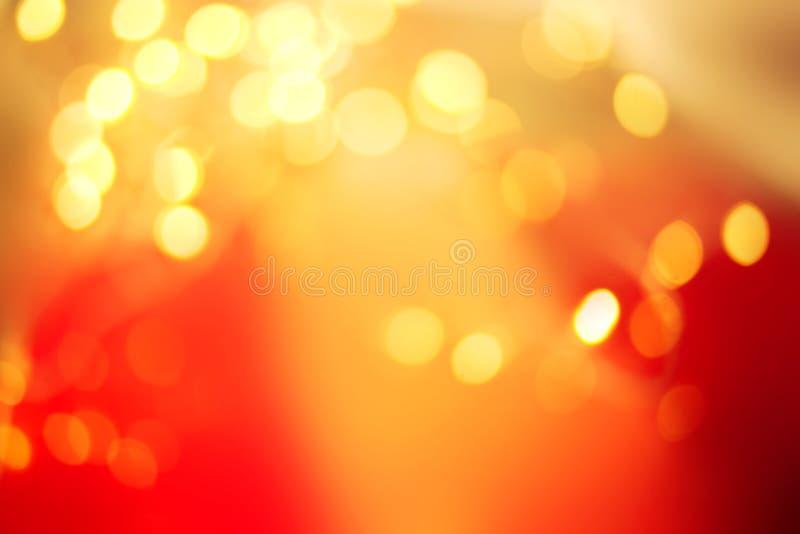Abstrakcjonistyczni bokeh światła na tle Zimy czerwień i złota pojęcie tekstura z pustym miejscem kopiujemy zdjęcie stock