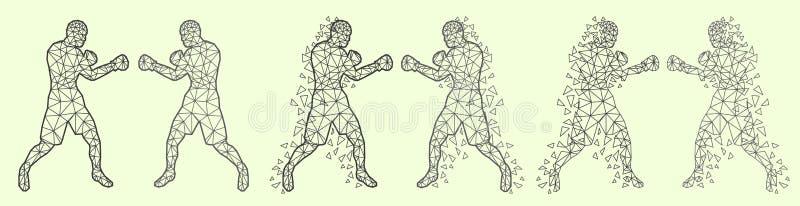Abstrakcjonistyczni boksery walczy przeciw each inny ilustracja wektor