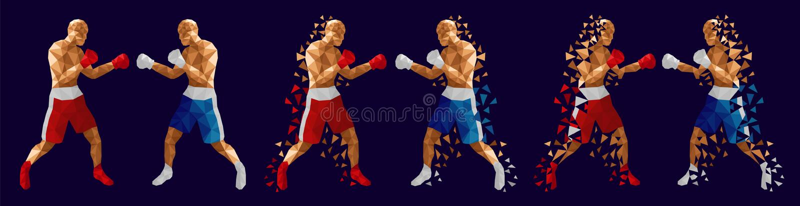 Abstrakcjonistyczni boksery walczy przeciw each inny ilustracji