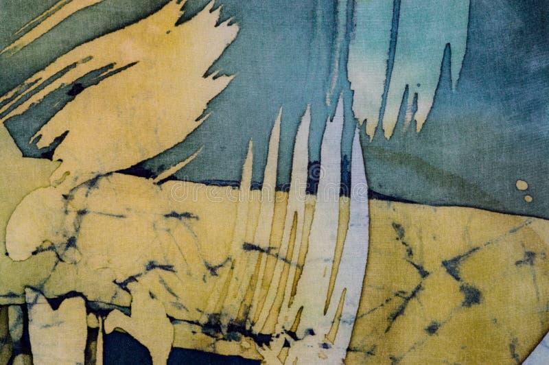 Abstrakcjonistyczni brushstrokes, czerep, gorący batik, tło tekstura, handmade na jedwabiu obraz stock