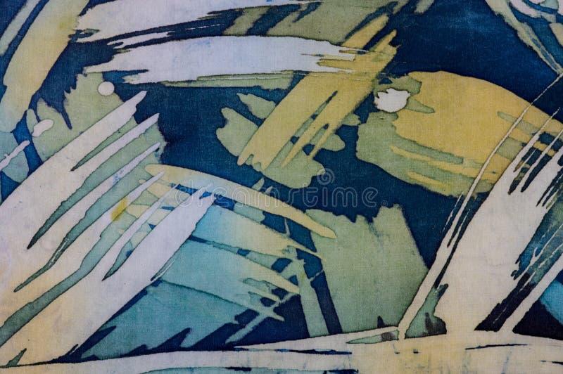 Abstrakcjonistyczni brushstrokes, czerep, gorący batik, tło tekstura, handmade na jedwabiu fotografia royalty free