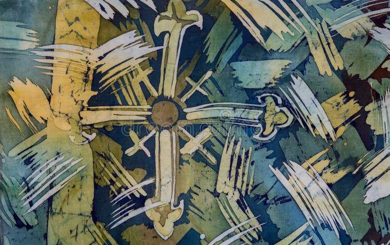 Abstrakcjonistyczni brushstrokes, czerep, gorący batik, tło tekstura, handmade na jedwabiu zdjęcie royalty free