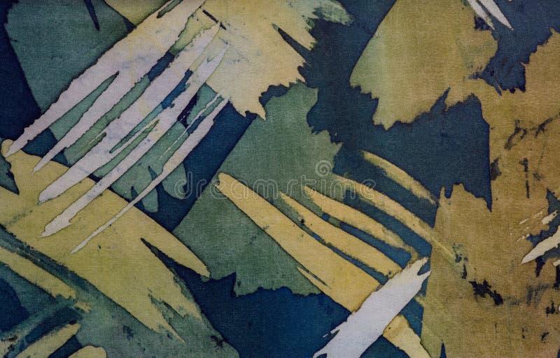 Abstrakcjonistyczni brushstrokes, czerep, gorący batik, tło tekstura, handmade na jedwabiu obraz royalty free