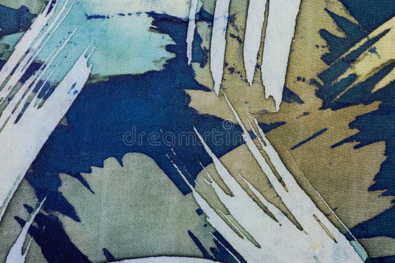 Abstrakcjonistyczni brushstrokes, czerep, gorący batik, tło tekstura, handmade na jedwabiu zdjęcia royalty free