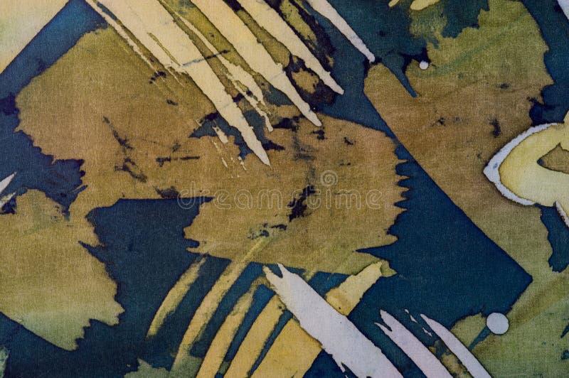 Abstrakcjonistyczni brushstrokes, czerep, gorący batik, tło tekstura, handmade na jedwabiu obrazy stock