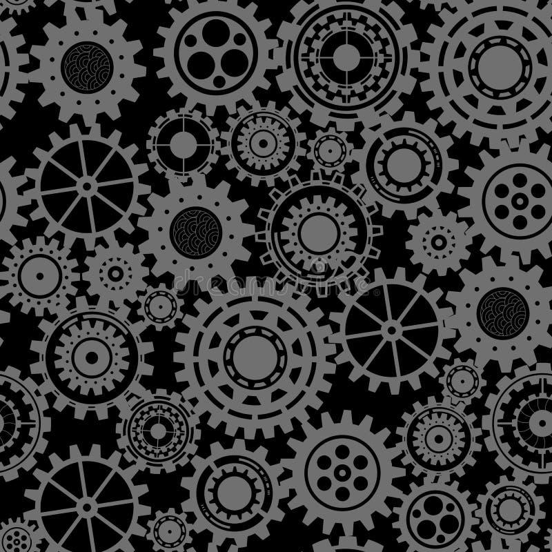 Abstrakcjonistyczni cogs - bezszwowe przekładnie na czarnym tle ilustracja wektor