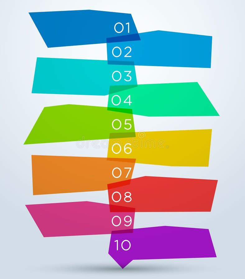 Abstrakcjonistyczni Colourful kształty Z liczbami 1, 10 ilustracja wektor