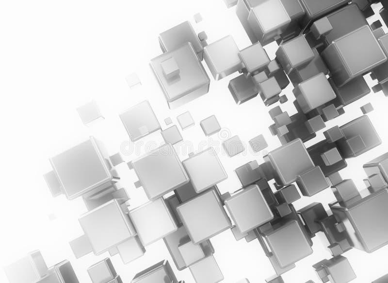 Abstrakcjonistyczni cyfrowi błękita 3d sześciany ilustracji