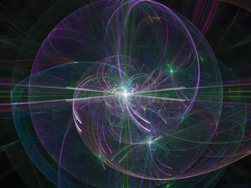 Abstrakcjonistyczni cyfrowi, tajemniczy wizualni błyszczący wyobraźnia dane płynie kreatywnie koloru projekt, fractal fantazja ilustracja wektor
