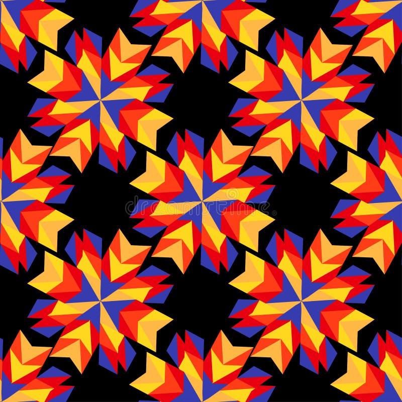 Abstrakcjonistyczni czerwieni i pomarańcze kwiaty na czarnym tle ilustracji