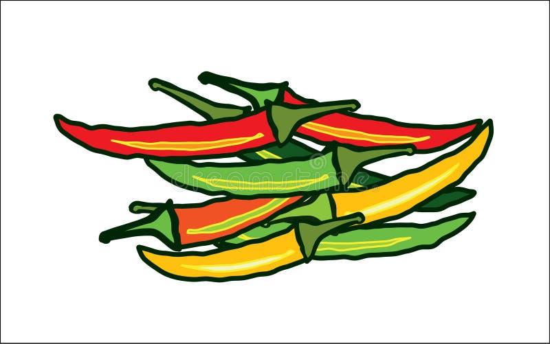 Abstrakcjonistyczni czerwoni i zieleni chillies royalty ilustracja