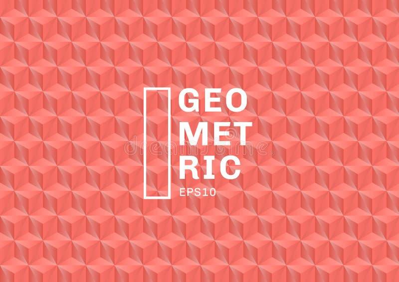 Abstrakcjonistyczni 3D koloru koralowi wieloboki deseniują tło i teksturę Geometryczny trójboka kształta menchii kolor Ty możesz  ilustracja wektor