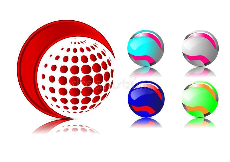Abstrakcjonistyczni 3d sfery logowie rzeźbi set Logo sfer bielu tło ilustracji