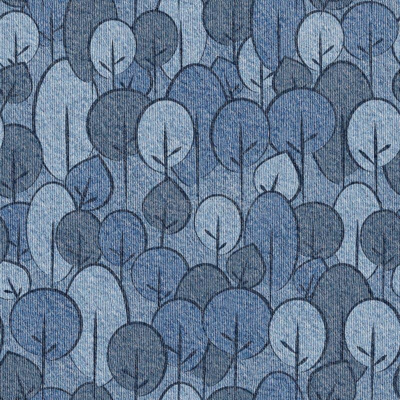 Abstrakcjonistyczni dekoracyjni drzewa - bezszwowy wzór, niebiescy dżinsy tekstylni ilustracji