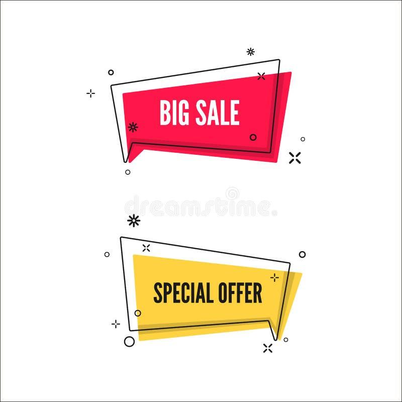 Abstrakcjonistyczni Duzi sprzedaży i oferty specjalnej sztandary Kolorowy b?bel z promocyjnym tekstem Set geometryczny promo szab ilustracji