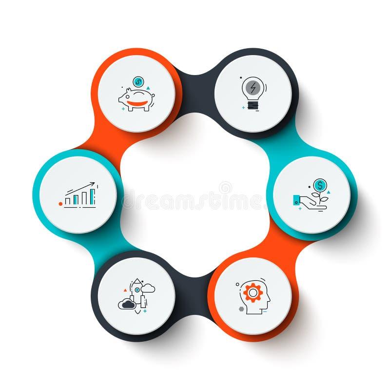 Abstrakcjonistyczni elementy cyklu diagram z krokami, opcjami lub procesami 6, Kreatywnie pojęcie dla infographic ilustracja wektor