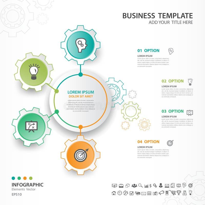Abstrakcjonistyczni elementy przekładnia diagram z 4 krokami, opcje, sieć projekt, prezentacja, diagram, mapa, infographics wekto royalty ilustracja