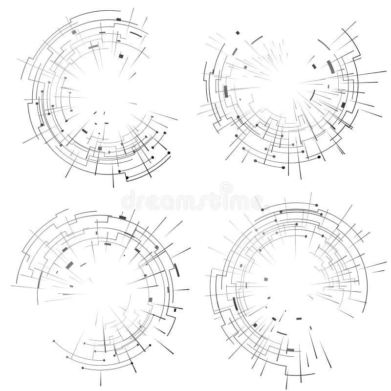 Abstrakcjonistyczni elementy ustawiający kółkowe linie i promienie royalty ilustracja