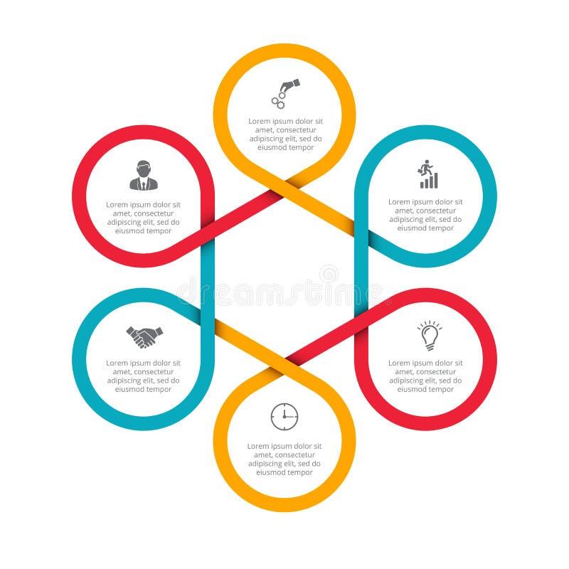 Abstrakcjonistyczni felements cyklu diagram z 6 krokami ilustracja wektor