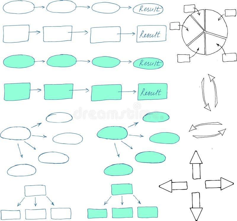Abstrakcjonistyczni flowchart projekta elementy ilustracji