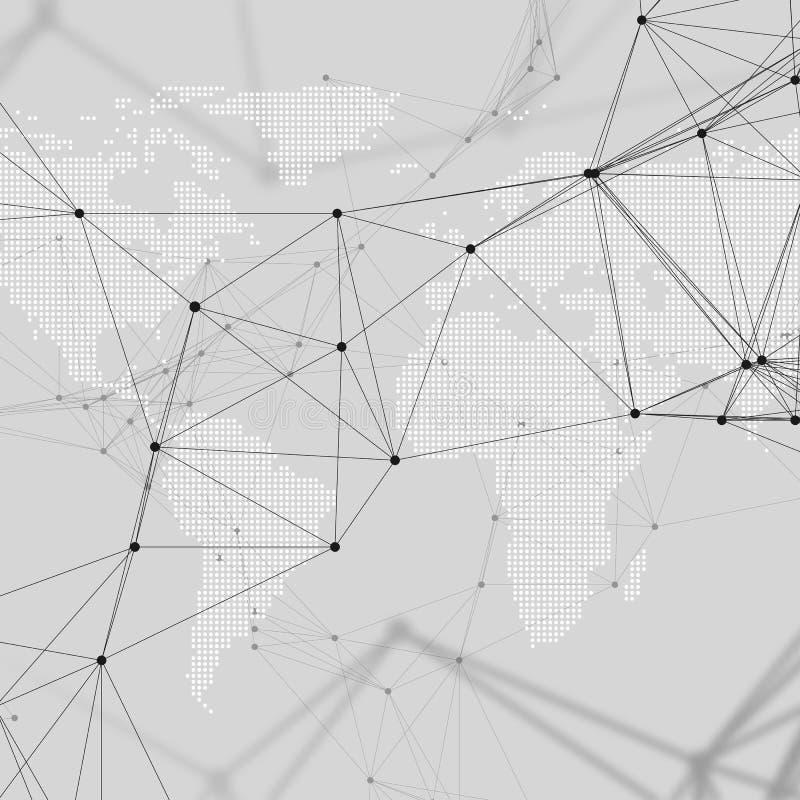 Abstrakcjonistyczni futurystyczni sieć kształty Zaawansowany technicznie tło, złączone linie i kropki, poligonalna liniowa tekstu ilustracja wektor
