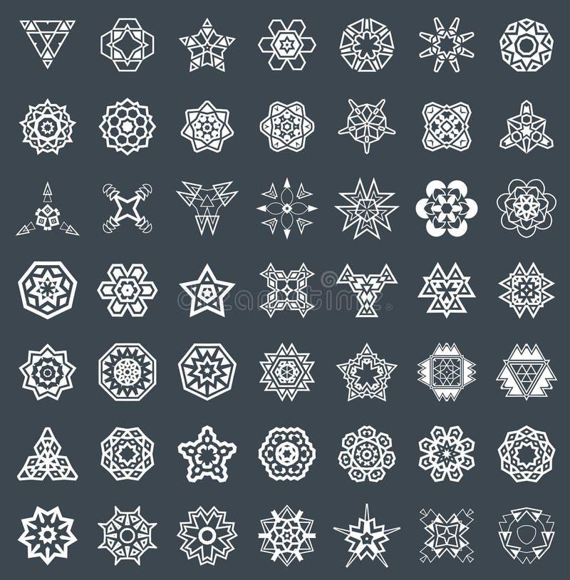 Abstrakcjonistyczni Geometryczni elementy, Deseniowy Etniczny aztek lub majowie wektor, royalty ilustracja