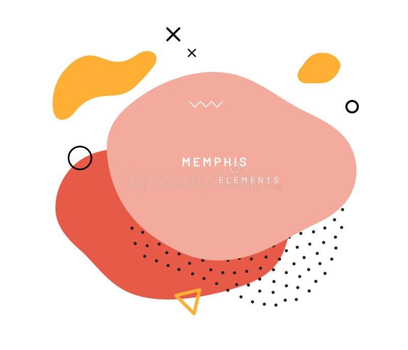 Abstrakcjonistyczni geometryczni kształty w Memphis stylu ilustracji