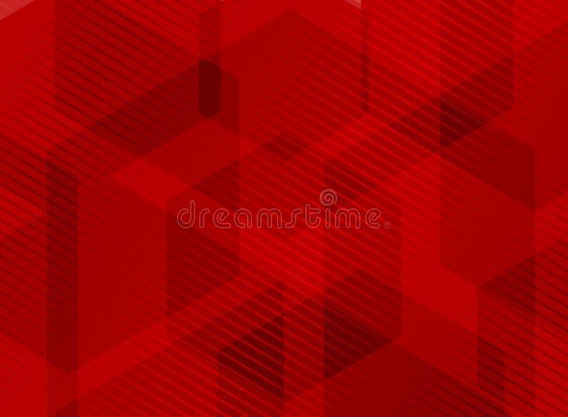 Abstrakcjonistyczni geometryczni sześciokąty pokrywa się czerwonego tło z pasiastym linia wzorem Ty możesz używać dla broszurki,  royalty ilustracja