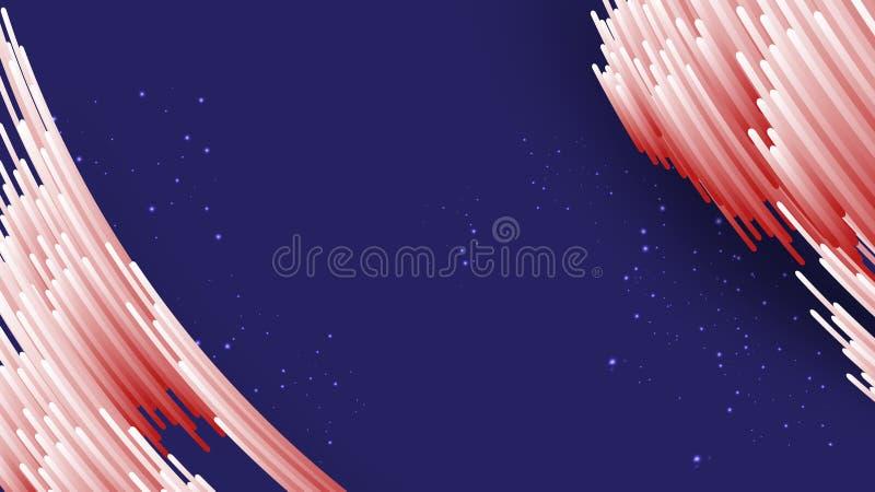 Abstrakcjonistyczni gradientowi biali i czerwień lampasy z cieniem na gradientowym błękitnym tle ilustracji