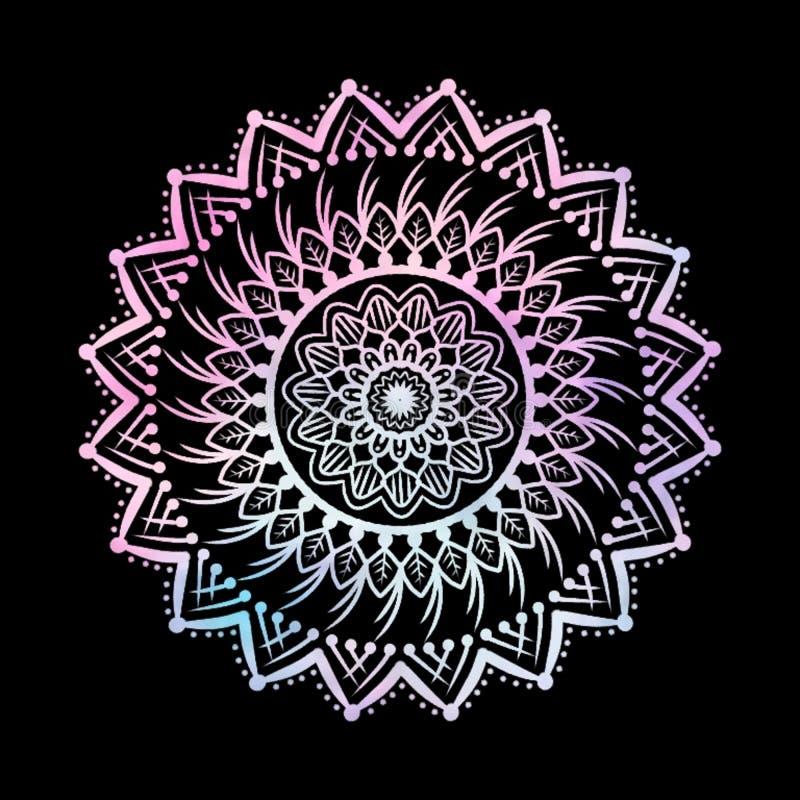 Abstrakcjonistyczni Gradientowi Pastelowi Mandalas na Odosobnionym Czarnym tle ilustracja wektor