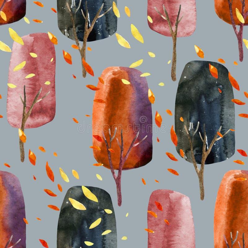 Abstrakcjonistyczni jesieni drzewa z spada liśćmi, akwarela bezszwowy wzór ilustracja wektor