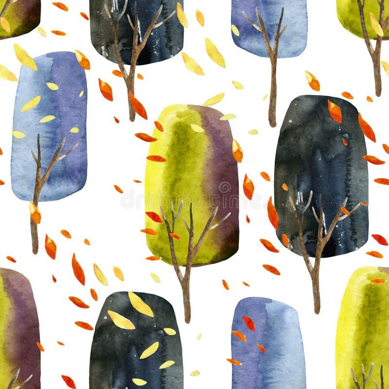 Abstrakcjonistyczni jesieni drzewa z spada liśćmi, akwarela bezszwowy wzór royalty ilustracja