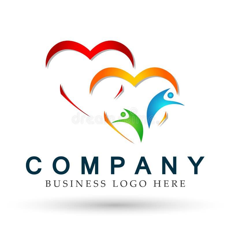 Abstrakcjonistyczni Kierowi kolorowi ludzie zrzeszeniowego miłości wellness drużyny pracy logo ikony pojęcia wektorowych ilustrac royalty ilustracja