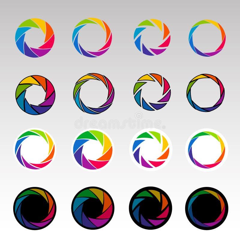 Abstrakcjonistyczni kolorów kształty, spirala, apertura żaluzje ilustracji