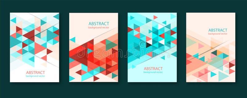 Abstrakcjonistyczni kolorowi geometryczni tr?jgrania?ci t?a broszurka projekta szablony inkasowi z kolorowy geometryczny trójgran ilustracja wektor
