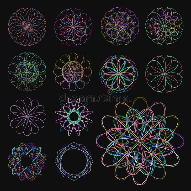 Abstrakcjonistyczni kolorowi gniazdujący kształty ilustracji