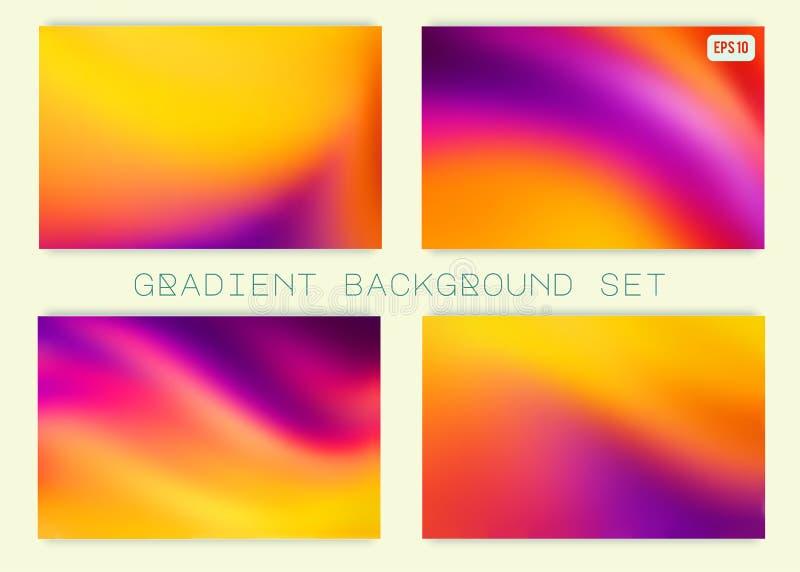 Abstrakcjonistyczni kolorowi gradientowi tła ustawiający ilustracja wektor