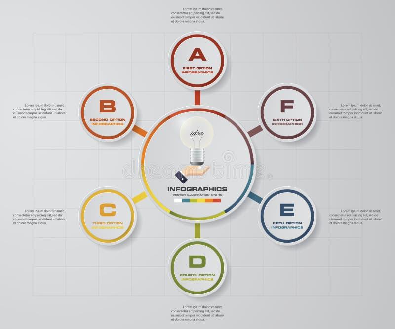 Abstrakcjonistyczni kolorowi 6 kroka Infographics biznesowych elementów, EPS10 royalty ilustracja