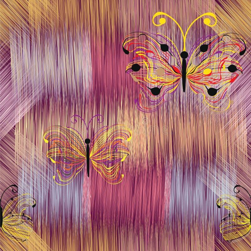 Abstrakcjonistyczni kolorowi motyle na grunge paskowali tęczy tło royalty ilustracja