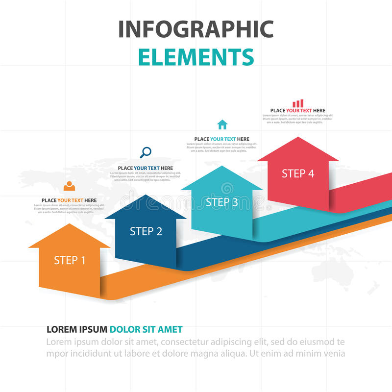 Abstrakcjonistyczni kolorowi strzałkowaci biznesowi Infographics elementy, prezentacja szablonu płaskiego projekta wektorowa ilus ilustracja wektor