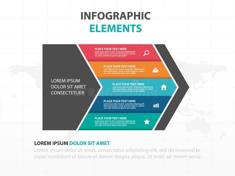 Abstrakcjonistyczni kolorowi strzałkowaci biznesowi linii czasu Infographics elementy, prezentacja szablonu płaskiego projekta we ilustracja wektor