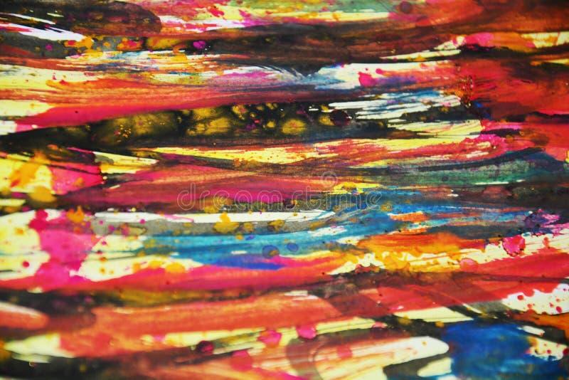 Abstrakcjonistyczni kolorowi zamazani kolory, kontrasty, woskowatej farby kreatywnie tło fotografia royalty free