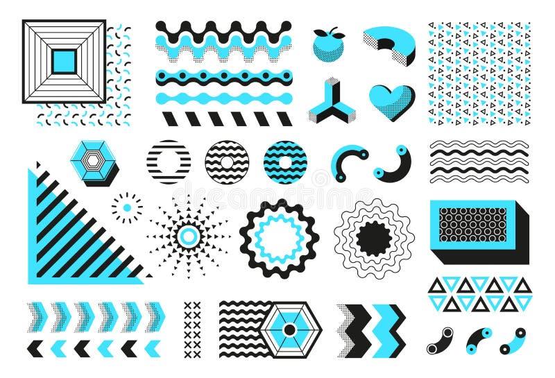 abstrakcjonistyczni kształty geometryczni Nowożytne Memphis linii formy, modnisia współczesnego minimalnego sztandaru ulotki wekt royalty ilustracja