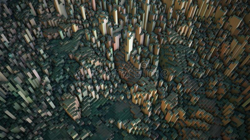 Abstrakcjonistyczni kubiczni 3D odpłacający się kształtują teren royalty ilustracja