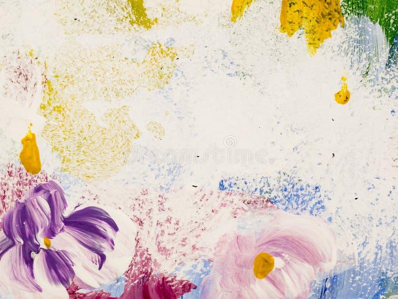 Abstrakcjonistyczni kwiaty akrylowy obraz na kanwie Kreatywnie abstrakcjonistyczna r?ka malowa? t?o, tekstura, t?o, tapeta obrazy royalty free