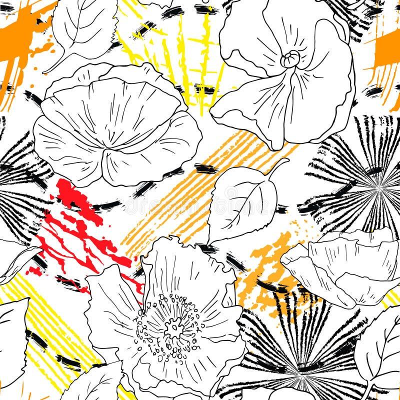 abstrakcjonistyczni kwiaty deseniuj? bezszwowego royalty ilustracja