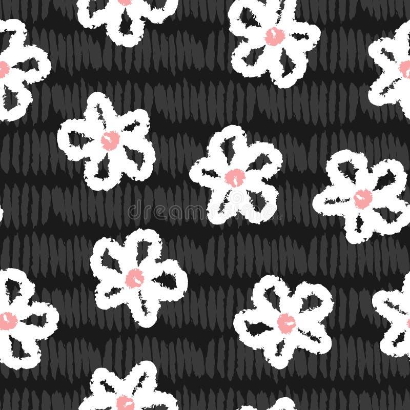 Abstrakcjonistyczni kwiaty malujący z akwareli muśnięciem Śliczny kwiecisty bezszwowy wzór dla dzieci ilustracji