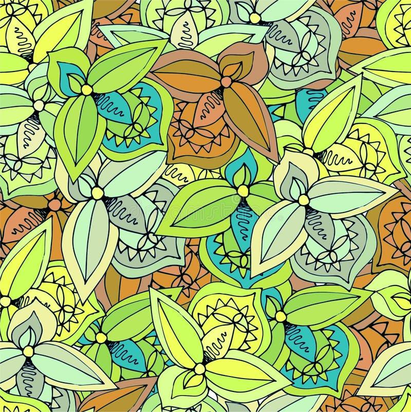 Abstrakcjonistyczni liście różnych kolorów bezszwowy tło royalty ilustracja